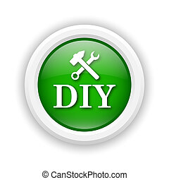 DIY icon - Round plastic icon with white design on green...