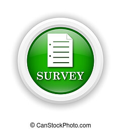 Survey icon - Round plastic icon with white design on green...