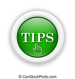 Tips icon - Round plastic icon with white design on green...