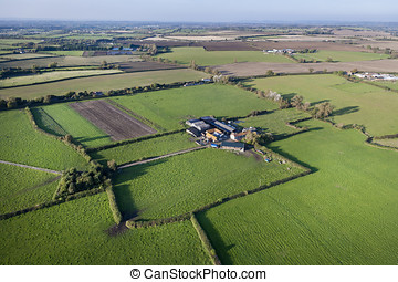 Aerial View of Farm and Fields