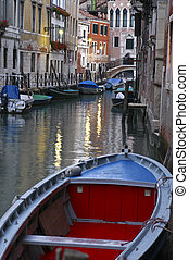 Red and blue boat, Venice, Italy - Red and blue boat tied up...