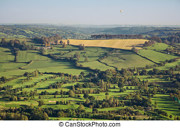Aerial View of British Countryside