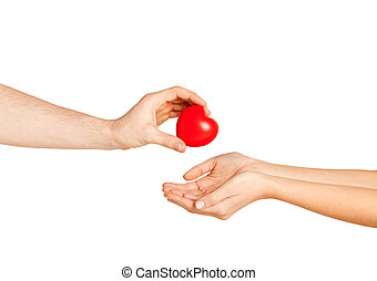 man hand giving red heart to woman - love, relationship,...