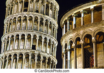 Leaning Tower of Pisa at night.