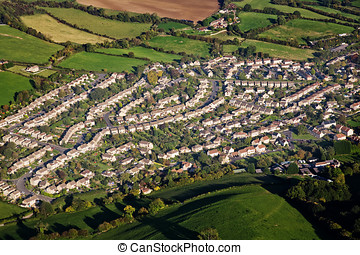 Aerial view of housing estate - Aerial view of an English...