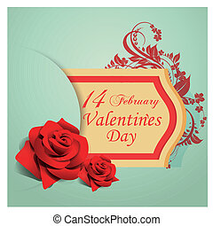 valentine day - a yellow icon with some text, a flower and...