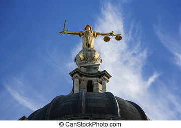 Justice On The Old Bailey, London - Gold Lady Justice Statue...