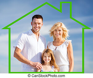 happy family outdoors - home, happiness and real estate...