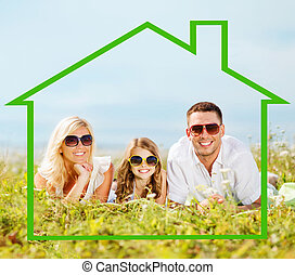 happy family in sunglasses outdoors - home, happiness and...