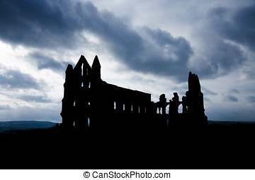 Silhouette of Whitby Abbey with Moody Sky - Silhouette of...