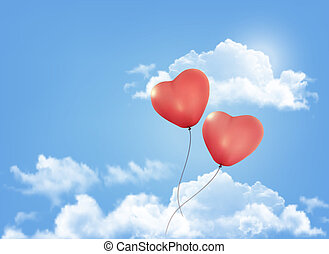 Valentine heart-shaped baloons in a blue sky with clouds. Vector background