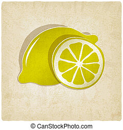 paper lemon icon on old background