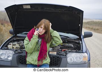 Teenage, dziewczyna, złamany, Wóz