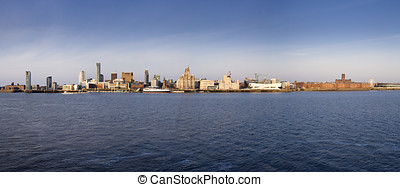 Liverpool Waterfront - Panoramic view of Liverpool's...