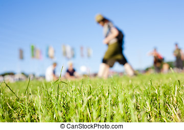 Music Festival Field - Relaxed scene at a summer music...