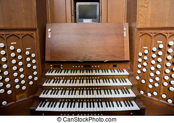 Church Organ Console - Console for the pipe organ in Bath...
