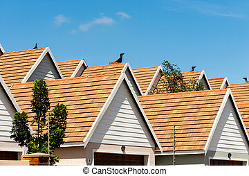Condomimium house rooftops. - Close up detail of town house...