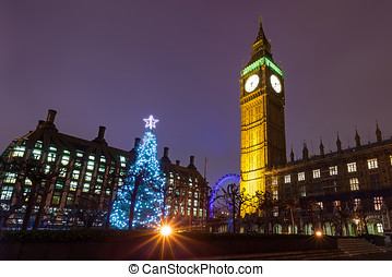 Westminster on a Christmas Night - Nighttime View of the...