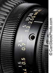 Television Lens focussing ring close-up - Close-up of a...