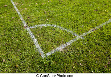 Football Pitch Corner Markings - Close-up of the corner...