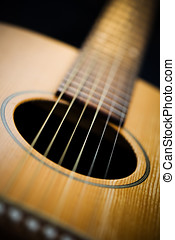 Close-up Acoutic Guitar - Acoustic guitar. Close-up on sound...