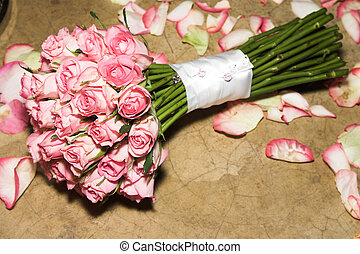 Wedding Flowers - Wedding Bouquet made up of pink long stem...