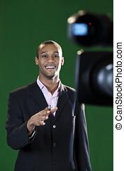 Presenter in Green Screen TV Studio - Television presenter...