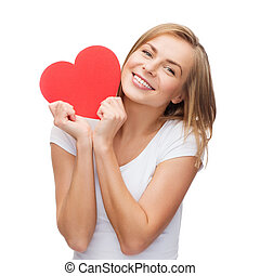 smiling woman in white t-shirt with heart - happiness,...