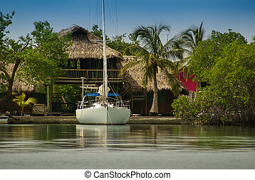 A tiny island in the caribbean Archipelago san Bernardo near...