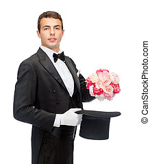 magician with flower bouquet - magic, performance, circus,...