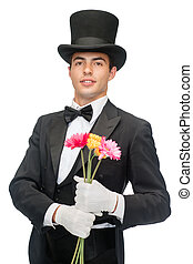 magician with flowers - magic, performance, circus, show...