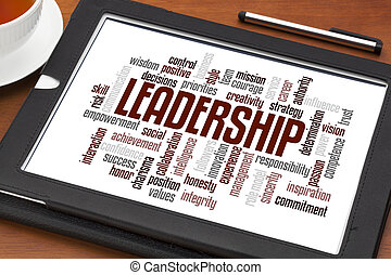 leadership word cloud on a digital tablet with a cup of tea