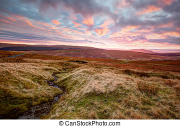 Yorkshire Dales At Sunset - Sunset view across moorland to...