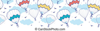 colorful ot air balloons horizontal border seamless pattern...