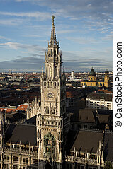 Aerial view of the New Town Hall of Munich