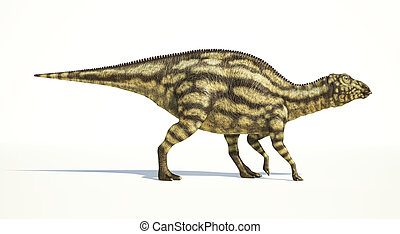 Maiasaura dinosaur, young child, full body photorealistic representation, scientifically correct. Side view, On white background and drop shadow. Clipping path included.