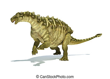 Talarurus dinosaur, photorealistic and scientifically correct representation. Dinamic view. On white background with drop shadow. Clipping path included.
