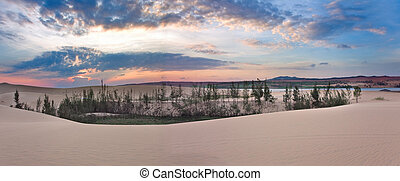 White sand dunes on sunrise, Mui Ne, Vietnam