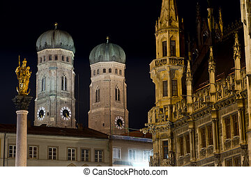 Towers of Frauenkirche in Munich by Night - The two tower of...