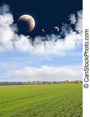 Fields of a far planet