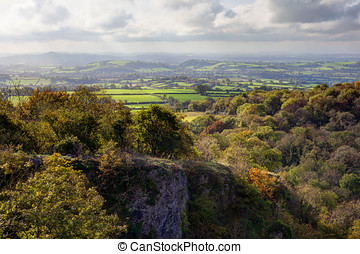 Somerset Levels from Ebbor Rock, UK - View from Ebbor Rock...