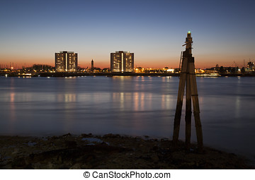Portsmouth Harbour at night - Late evening view from...