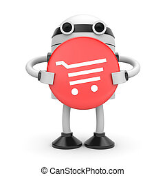 Robot with shopping cart - Business concept Isolated on...