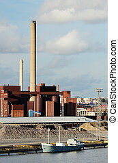 industrial building and chimney and boat - industrial...