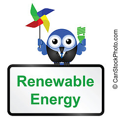 Renewable energy sign isolated on white background