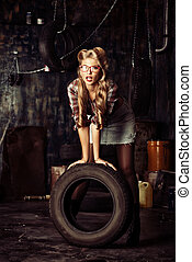 styled model - Charming pin-up woman with retro hairstyle...