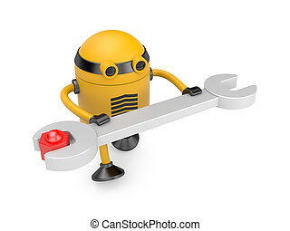 Robot at work - Image contain the clipping path