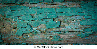Grungy old wooden wall with peeling paint - Background...