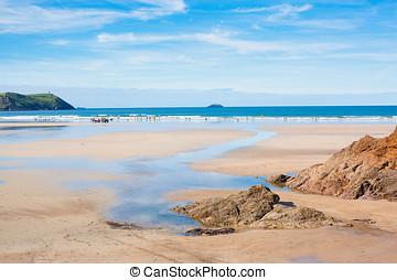 Polzeath Beach Cornwall - General view of Polzeath Beach in...