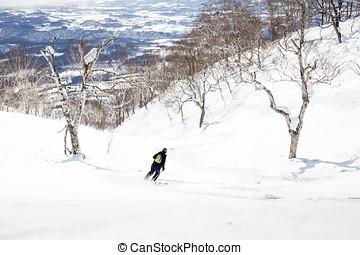 Off-Piste Skiing through Trees - Woman skis off-piste...